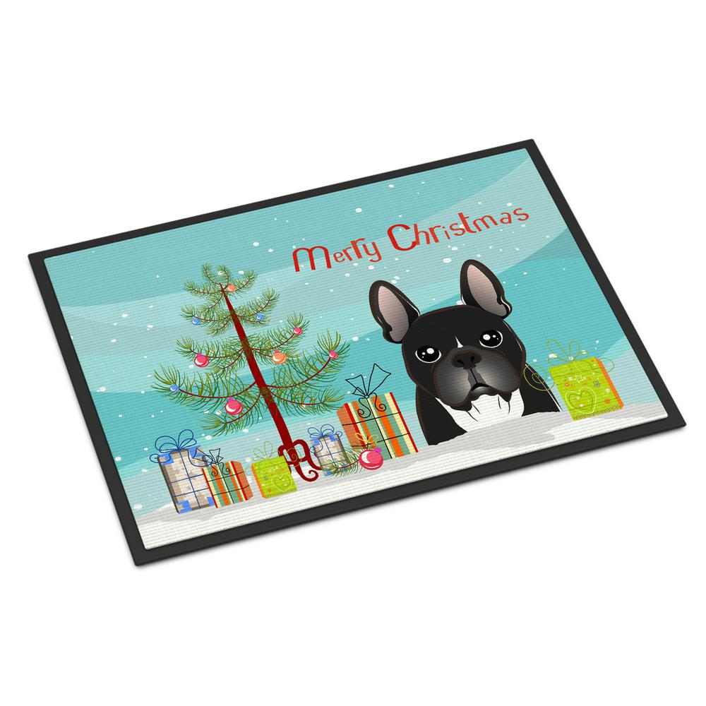 18 in. x 27 in. Indoor/Outdoor Christmas Tree and French Bulldog