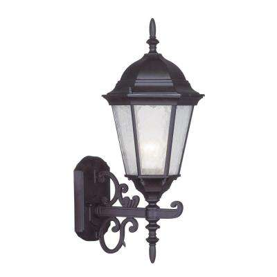1-Light Bronze Outdoor Wall Lantern Sconce with Clear Water Glass