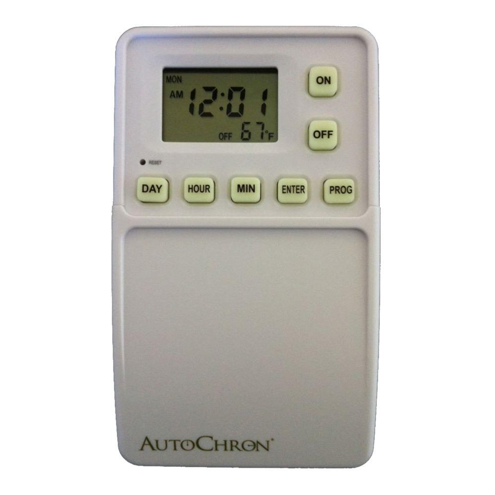 Autochron Wireless Programmable Wall Switch Timer White 82000 Cordless Ceiling Light With Remote Control Battery