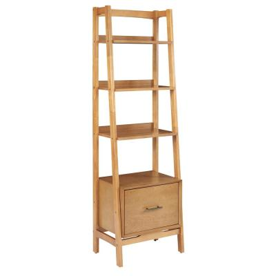 70.13 in. Acorn Wood 4-shelf Ladder Bookcase with Open Back