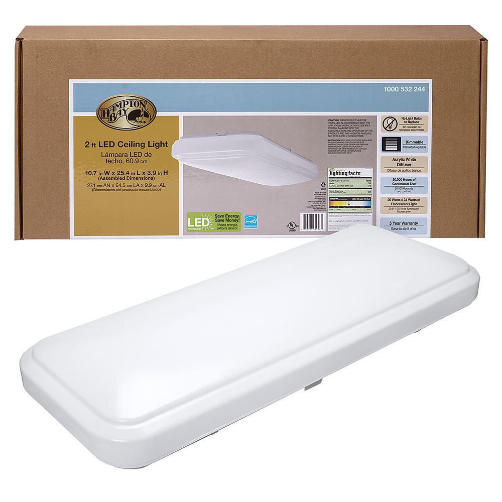 Hampton Bay 24 in. x 12 in. Classic White Rectangle LED Flush Mount Ceiling Light 4000K Bright White 1500 Lumens Dimmable