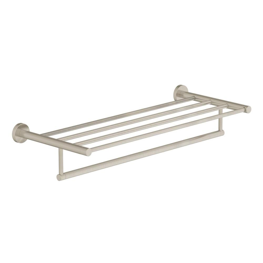 Symmons Dia 22 in. Towel Shelf with Bar in Satin Nickel-353TS-22-STN ...