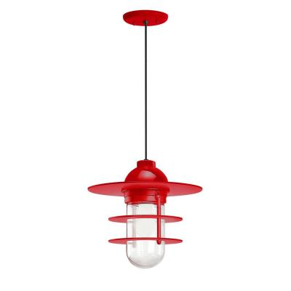 Retro Industrial 10 in. Shade 1-Light Red Finish Pendant