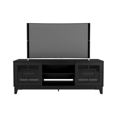 Magnolia 72 in. Black TV Stand Fits TV's up to 80 in. with Cable Management and 2-Doors