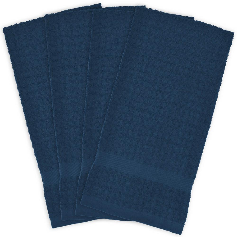 Blue Terry Solid Waffle Dish Towels Set Of 4
