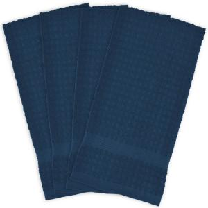 Blue Terry Solid Waffle Dish Towels (Set of 4)