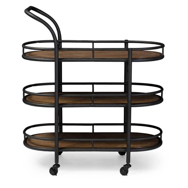Baxton Studio Karlin Black and Medium Brown Wine Cart 28862-6647-HD