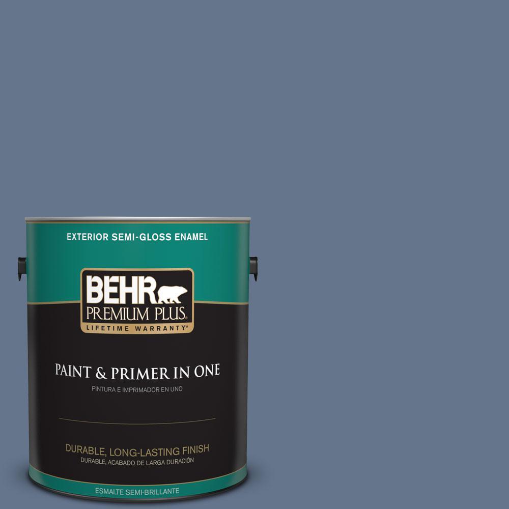 1-gal. #BXC-75 Saltbox Blue Semi-Gloss Enamel Exterior Paint