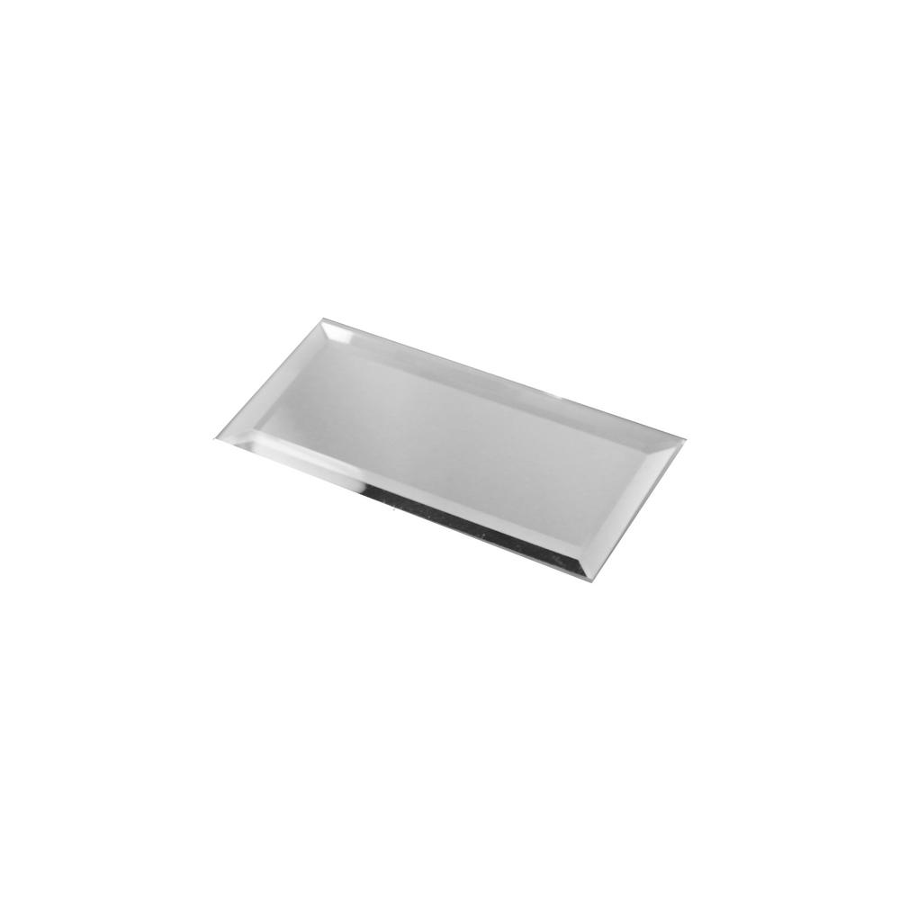 ABOLOS Reflections Silver Beveled 3 in. x 6 in. Glass Mirror Subway Wall Tile (14 sq. ft. / case)