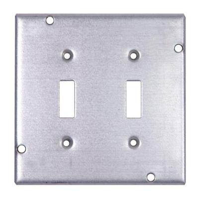 2-Gang 4-11/16 in. 1/2 in. Deep Pre-Galvanized Metal Square Box Surface Cover for 2 Toggle Switches (Case of 10)