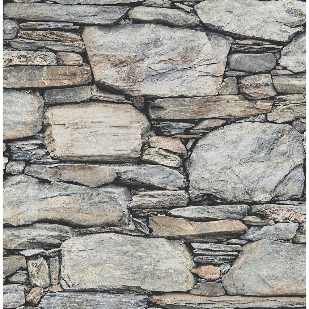 Brewster Grey Stone Wall Historic Wallpaper