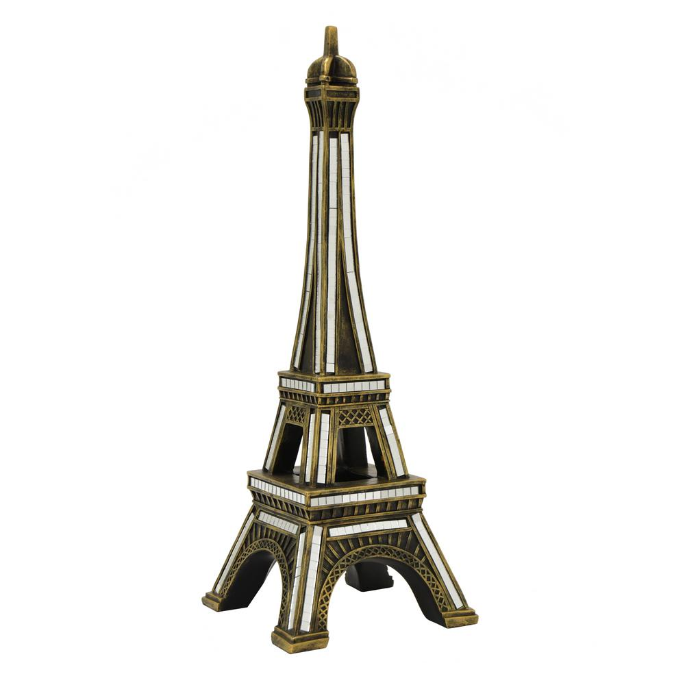 THREE HANDS 6.75 In. X 6.75 In. Gold Resin Eiffel Tower Tabletop Decor In