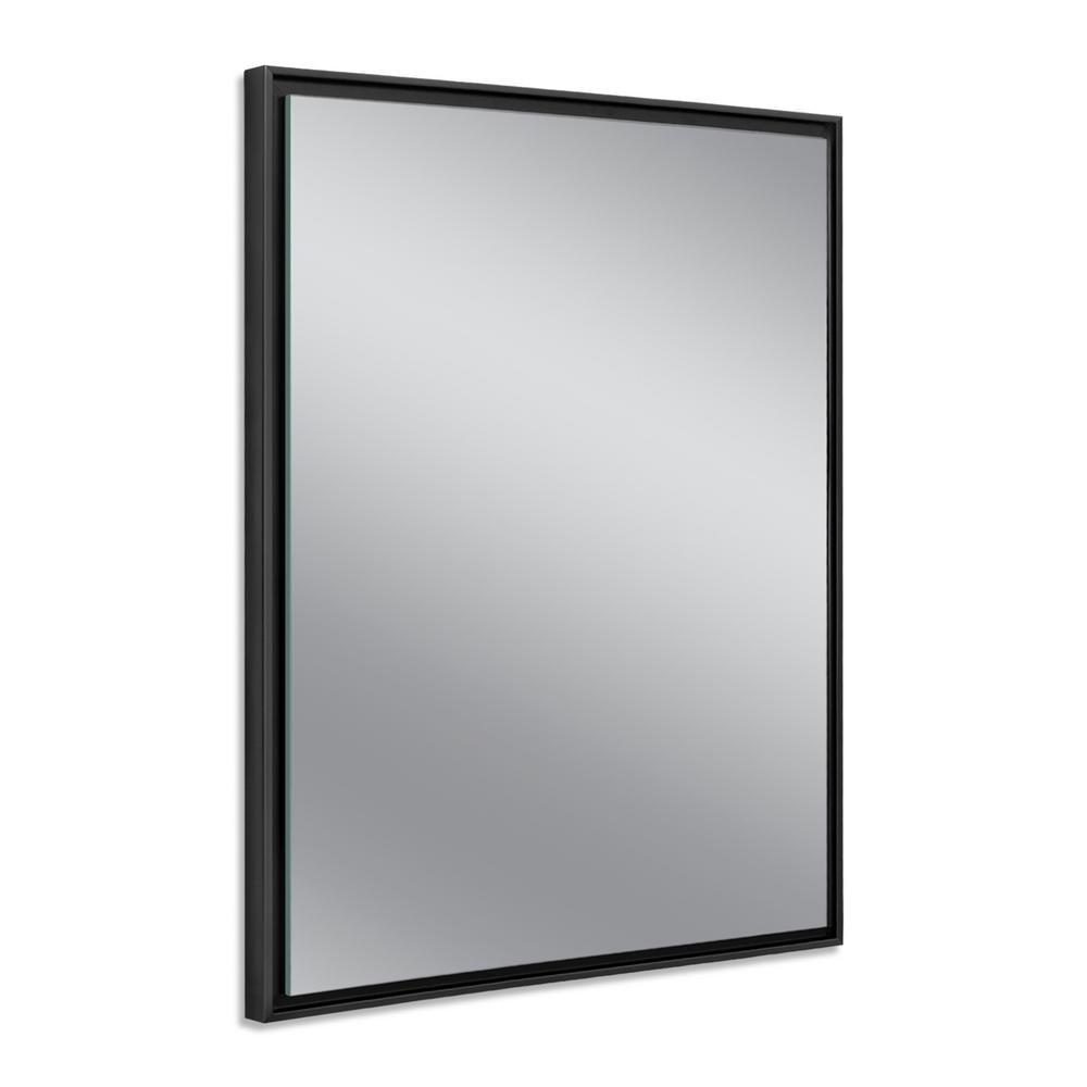 24 in. W x 30 in. H Black Studio Float Wall Mirror