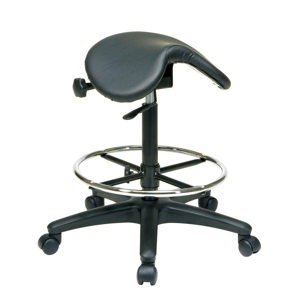 Work Smart Black Vinyl Drafting Chair