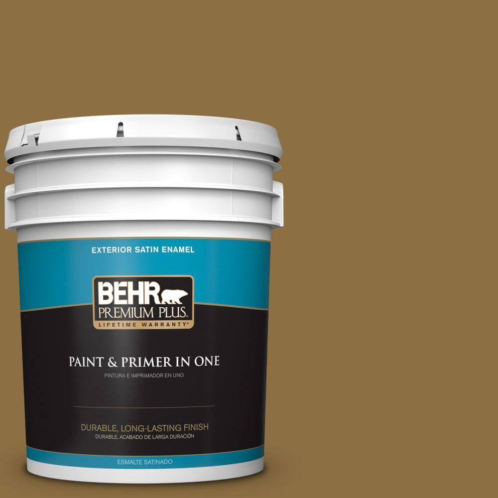 5-gal. #330F-7 Nutty Brown Satin Enamel Exterior Paint
