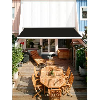 14 ft. Luxury L Series Semi-Cassette Electric with Remote Retractable Patio Awning (10 ft. Projection) in Black