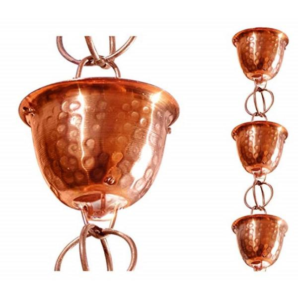 Monarch 8-1/2 ft. L Pure Copper Hammered Cup Rain Chain with Ring
