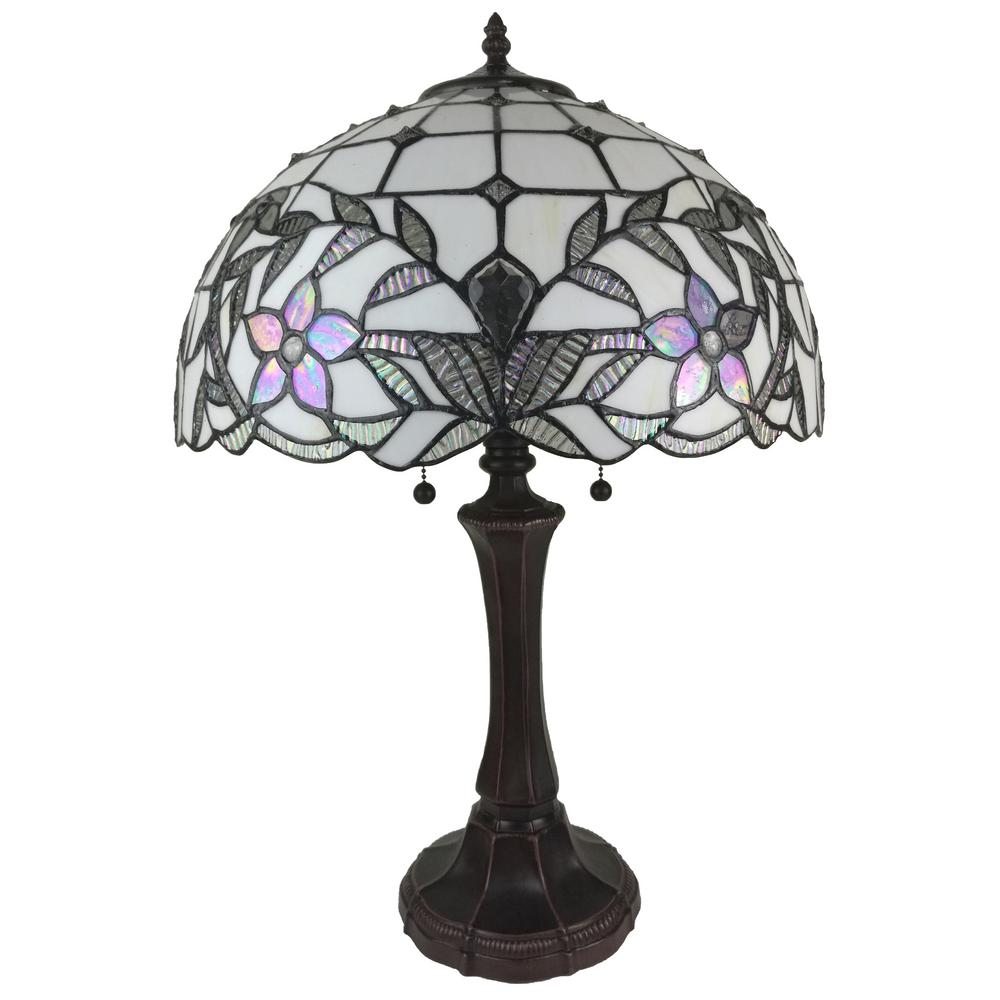 23 in. Tiffany Style Banker Jeweled White Table Lamp