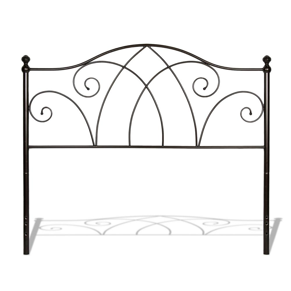 Deland Brown Sparkle Queen Complete Bed with Curved Grill Design and