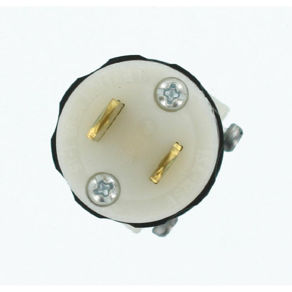 15 Amp 125-Volt Non-Grounding Straight Blade Plug Industrial Grade Midget, Black-White