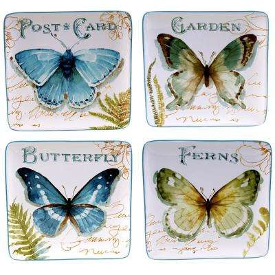 The Greenhouse Collection 8.5 in. Butterfly Dessert and Salad Plate (Set of 4)