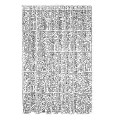 Rabbit Hollow White Lace Curtain 60 in. W x 96 in. L
