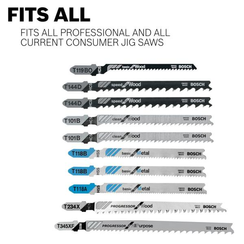Abracs HCS Jigsaw Blades Clean for Wood 3mm Teeth Spacing T101BR Pack of 5