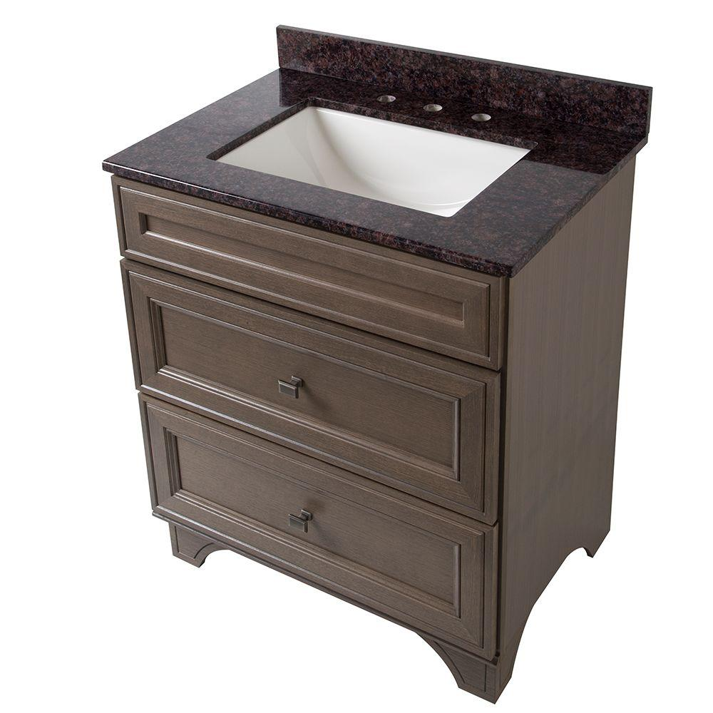 Home Decorators Collection Albright 31 in. Vanity in Winter with Stone Effects Vanity Top in Tan Brown