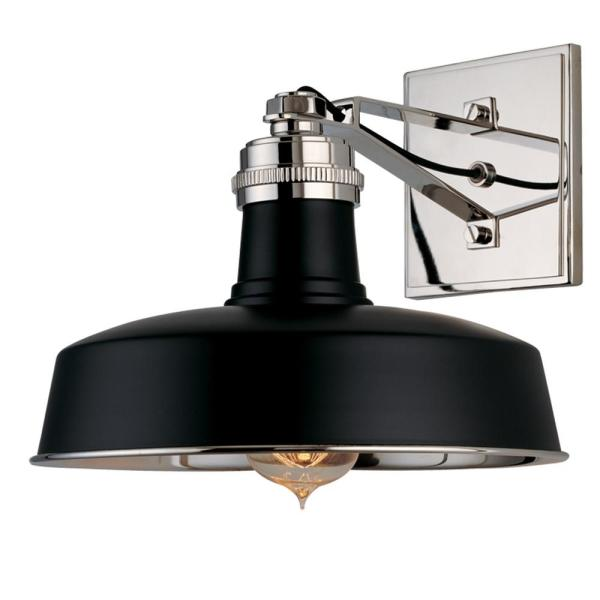 Stillwater 10 in. Black Polished Nickel Wall Sconce