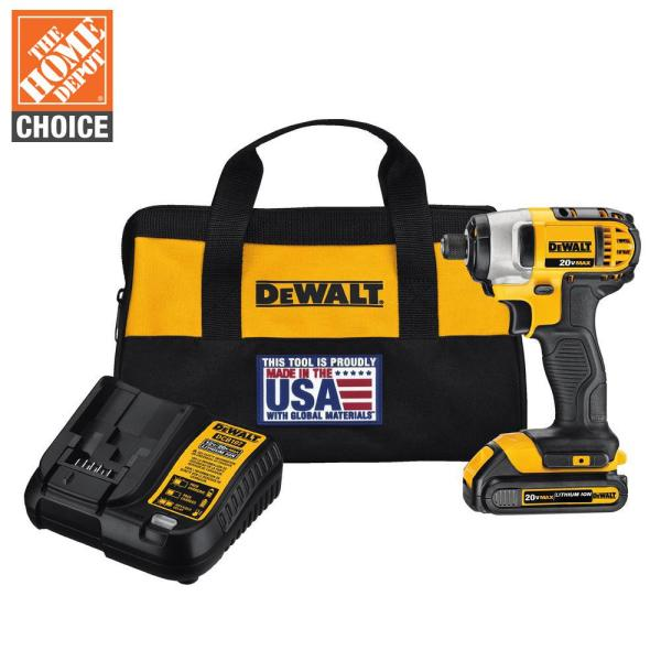 20-Volt MAX Lithium-Ion Cordless 1/4 in. Impact Driver with (1) 20-Volt Battery 1.3Ah, Charger and Tool Bag