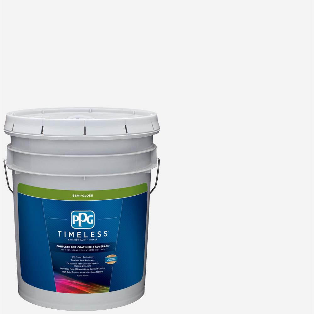PPG TIMELESS 5 gal  Pure White/Base 1 Semi-Gloss Exterior Paint with Primer