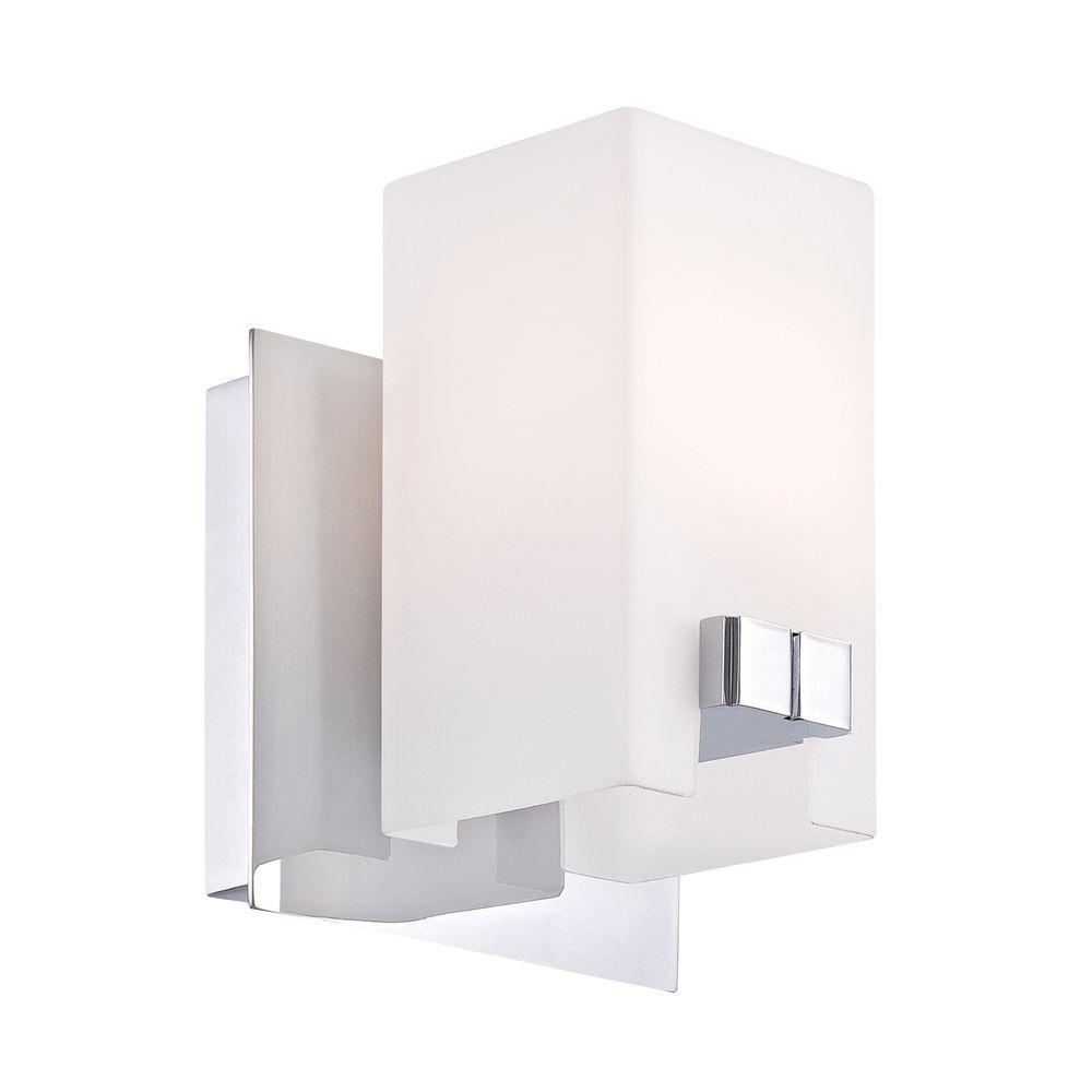 Titan Lighting Gemelo 1-Light Chrome Vanity Light with White Opal Glass