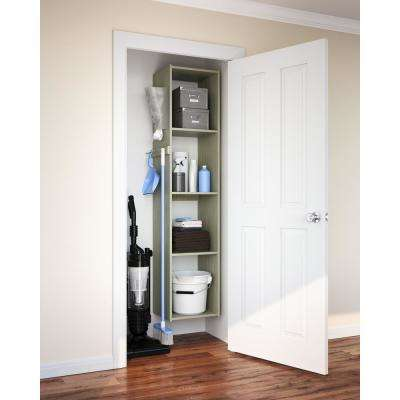 14 in. D x 15.65 in. W x 72 in. H Rustic Grey Wood Utility Closet Kit