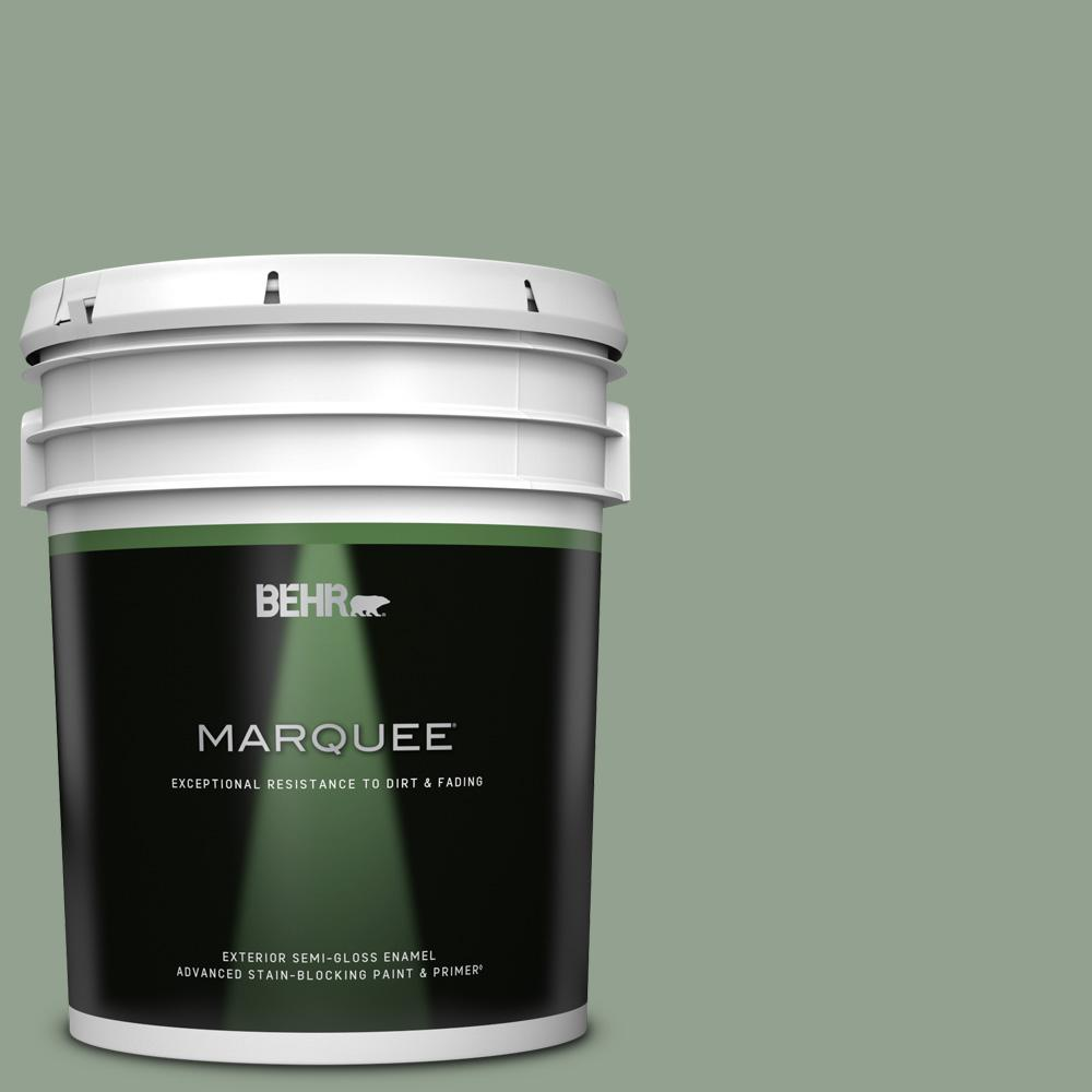 Behr Marquee 5 Gal N400 4 Forest Path Semi Gloss Enamel Exterior Paint Primer 545405 The Home Depot