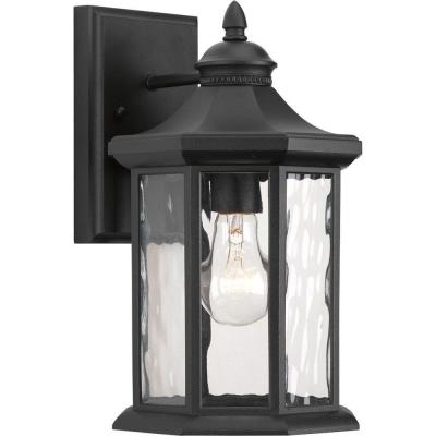 Edition Collection 1-Light Black 12.5 in. Outdoor Wall Lantern Sconce