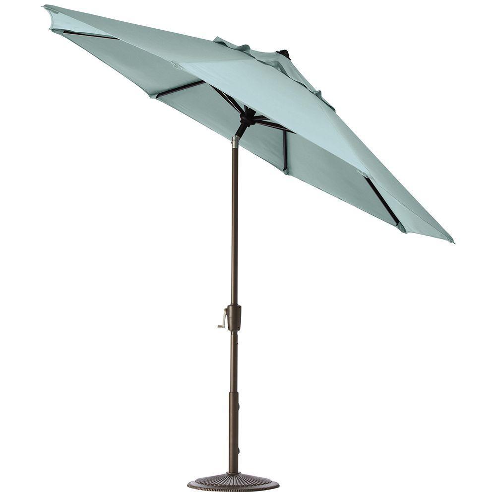 Home Decorators Collection 9 ft. Auto-Tilt Patio Umbrella in Mist Sunbrella with Bronze Frame