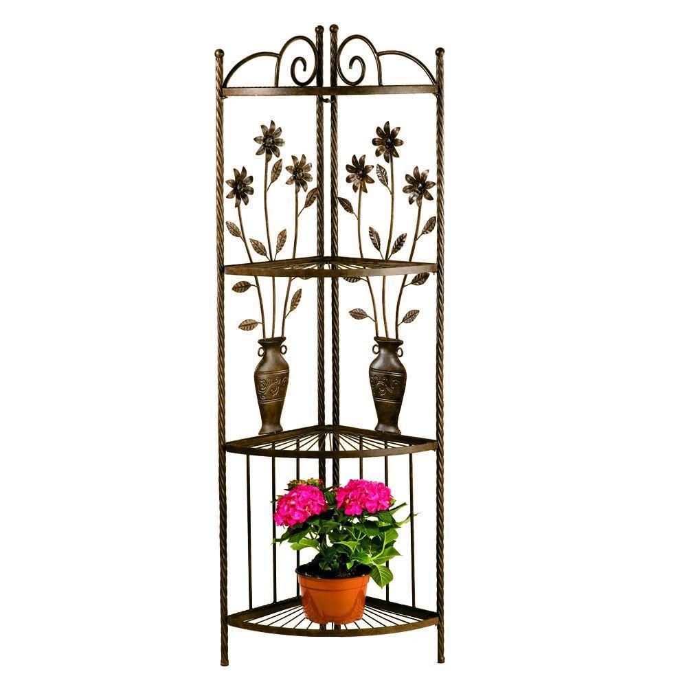 Floral and Vase Corner Rack