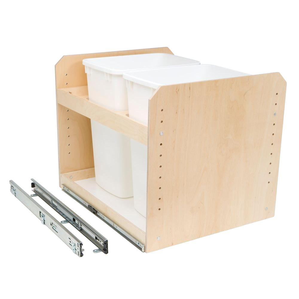 Made-To-Fit 35 qt. Dual Bin Slide-Out Trash/Recycle Cente...