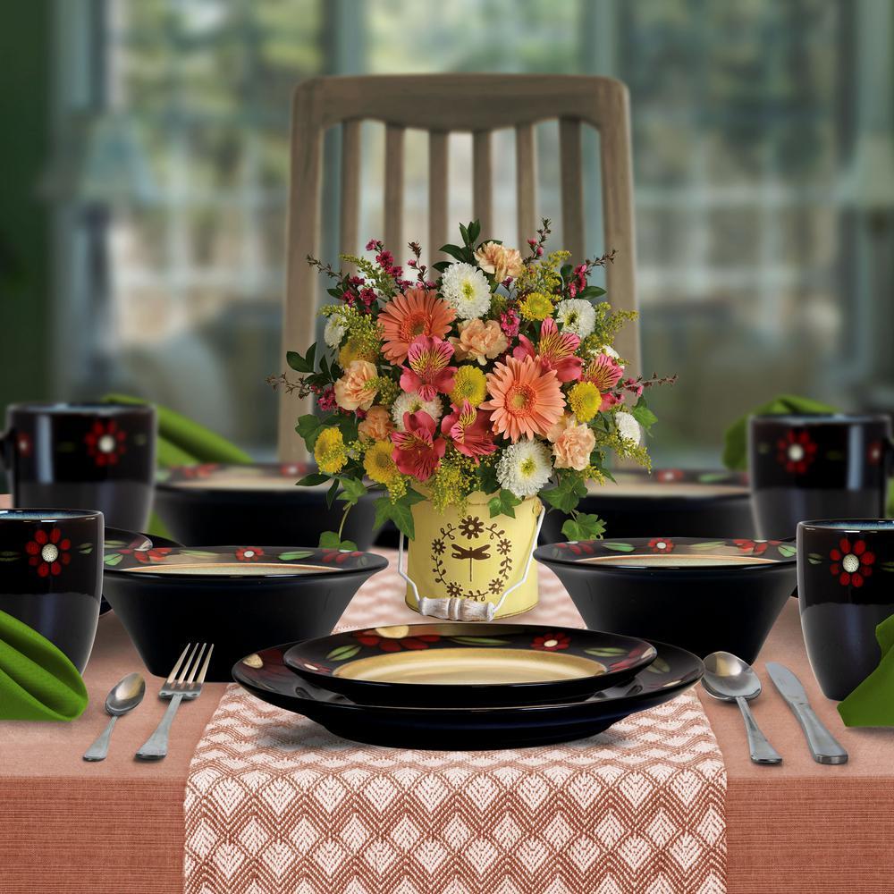 Homestead 16-Piece Brown Stoneware Dinnerware Set (Service for 4)