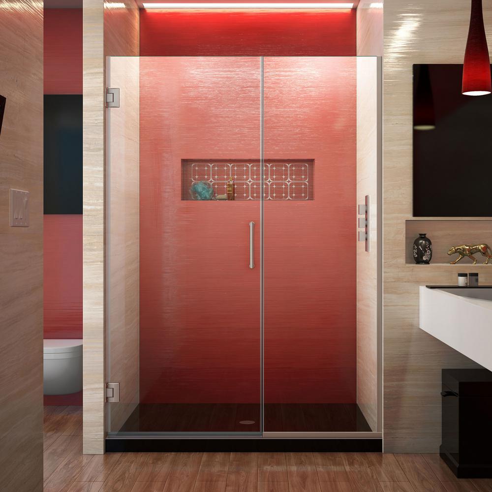 Unidoor Plus 52.5 to 53 in. x 72 in. Frameless Hinged Shower Door in Brushed Nickel