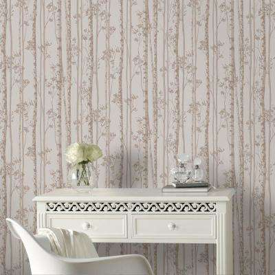 Pebble and Rose Gold Linden Wallpaper
