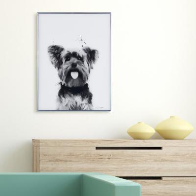 """""""Yorkshire Terrier"""" Black and White Dog Paintings on Reverse Printed Glass Framed Wall Art"""
