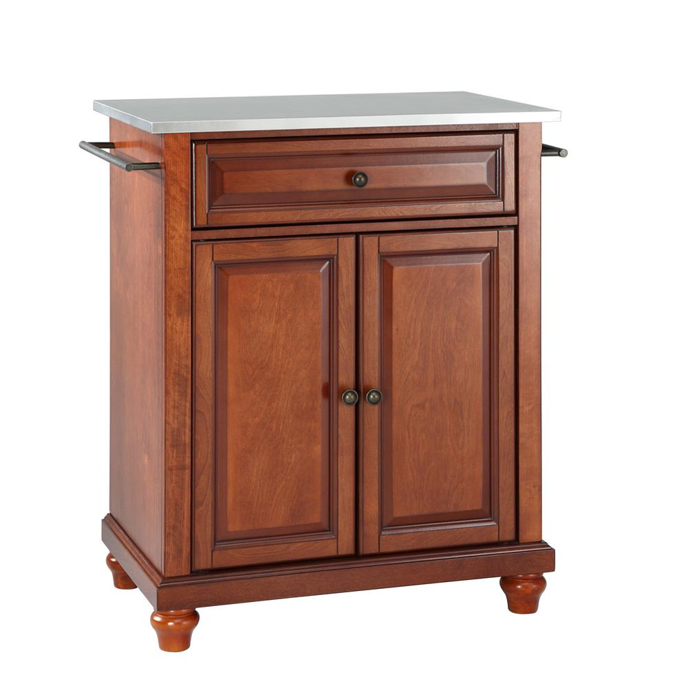 Crosley Cambridge Portable Kitchen Island With Stainless Steel Top Kf30022dch The Home Depot