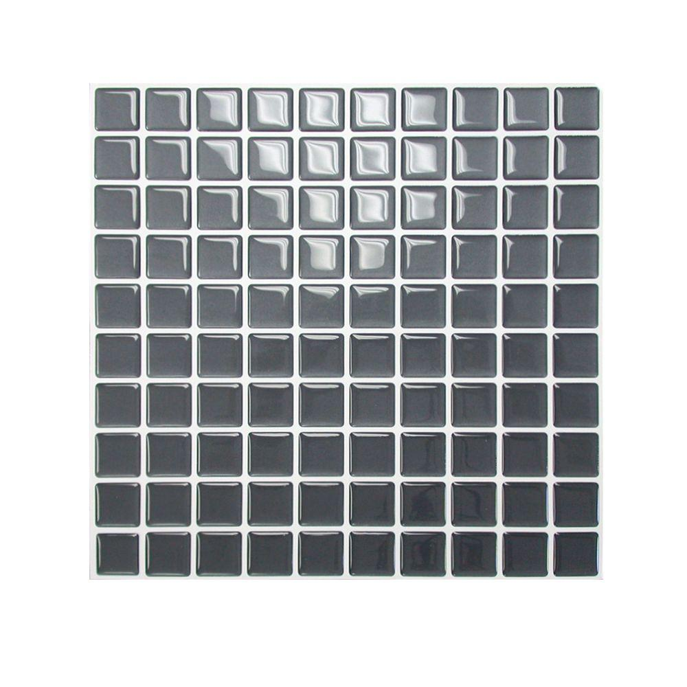 Smart Tiles 9.85 in. x 9.85 in. Slate Mosaic Adhesive Decorative Wall Tile in Dark Gray (6-Pack)