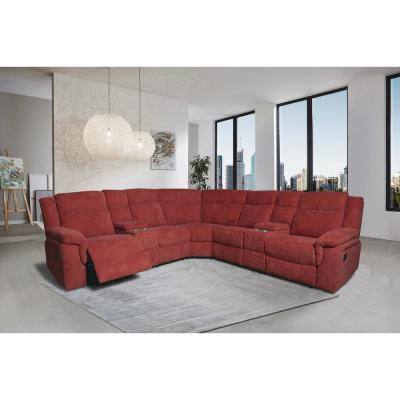 Mila Wine Red Motion 94.5 in. Symmetrical Reclining Sectional Sofa