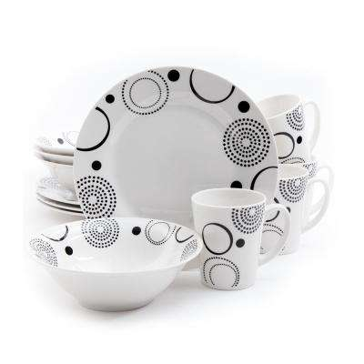 Modern Times 12-Piece Black and White Dinnerware Set