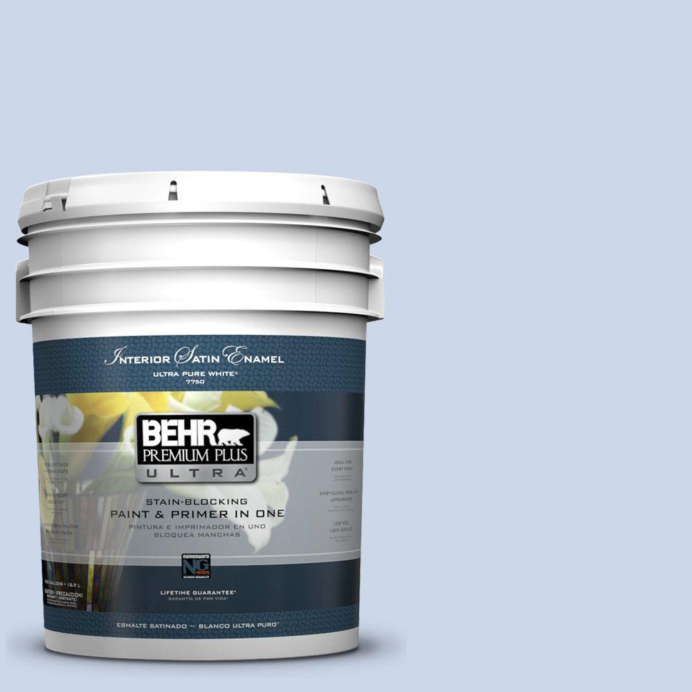 5-gal. #610C-2 Calm Water Satin Enamel Interior Paint
