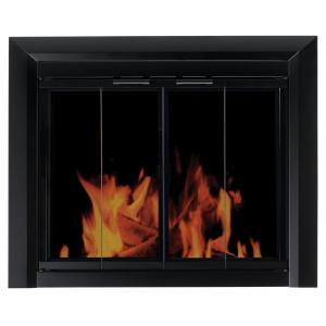 Add a decorative accent to any room in your residence by using this durable Pleasant Hearth Ascot Small Glass Fireplace Doors.