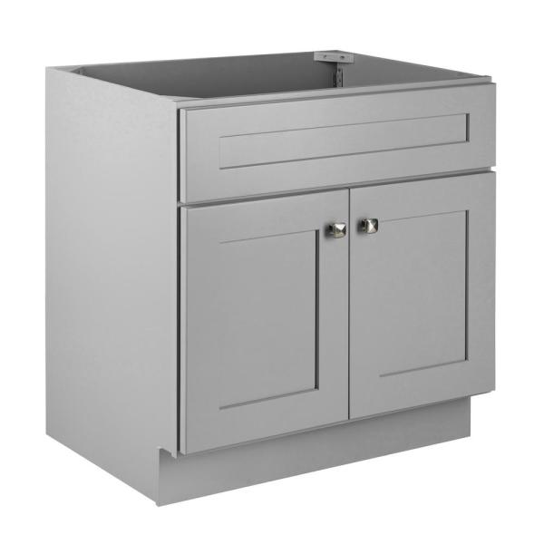 Brookings Plywood RTA 30 in. W x 21 in. D 2-Door Shaker Style Bath Vanity Cabinet Only in Gray