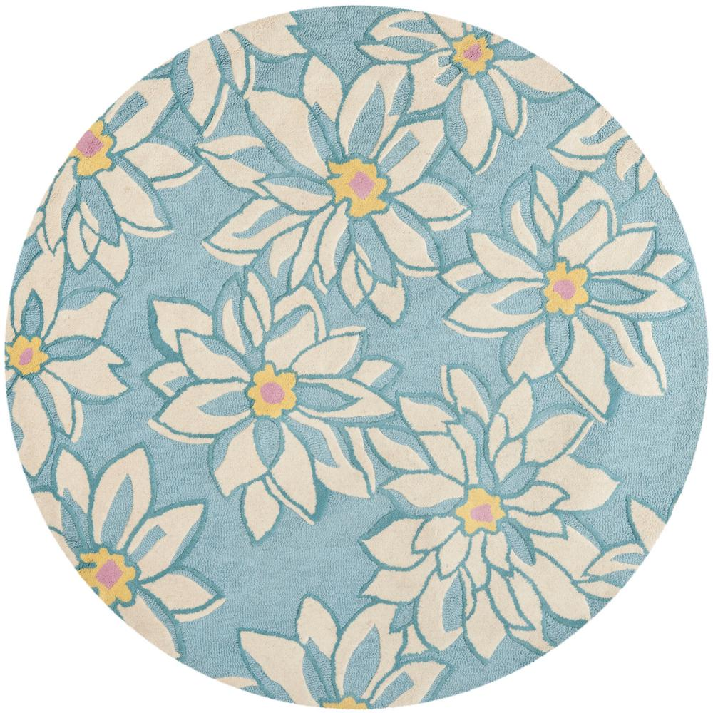 Blossom Light Blue/Ivory 6 ft. x 6 ft. Round Area Rug